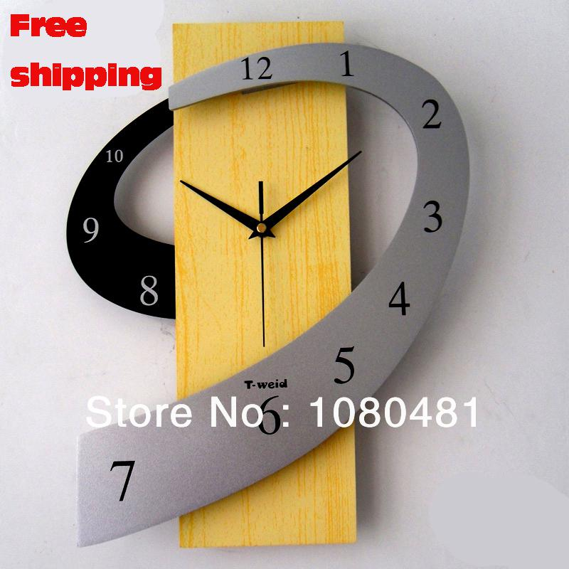 Modern Design Personalized Wooden Arch Fashion Mute Wall Clock Home ...