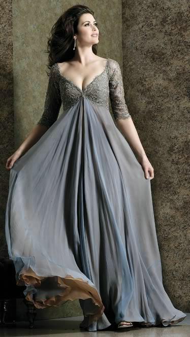 2015 Fashion Chiffon Plus Size Evening Dresses Poet Half Sleeve ...