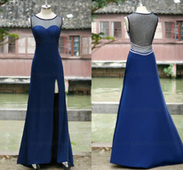 Bella linea online-Foto di Sfani Real Novità Prom Dresses 2018 See Through Back Abito da sera blu Plus Size 100% Nice Dress