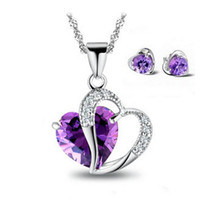 Wholesale Earring Purple - Fashion Necklace Earring Set,Genuine 925 Sterling Silver & Austria Crystal,3 Layer Platinum Plated,Free Shipping OS01