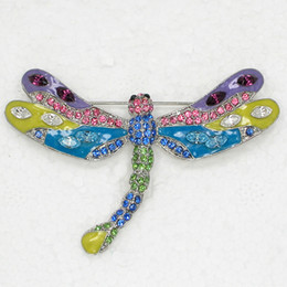 12pcs lot Wholesale Crystal Rhinestone Enamel Dragonfly Pin Brooch Fashion  Costume jewelry gift C983 bc819a54ec74