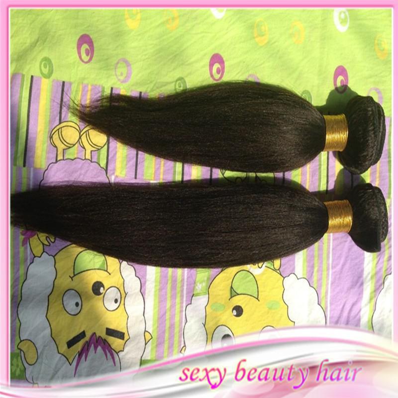 Capelli Vergini brasiliani Yaki lotto Parte centrale 4x4 chiusura in pizzo con 2 pz Bundles Non trattata Yaki Hair Extention