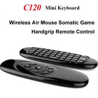 volle pc-spiele großhandel-C120 2.4GHz Mini-Gyroskop drahtlose volle Schlüssel Tastatur 3 Achsen Sensor Air Fly Maus Fernbedienung + somatische Spiel Handgriff für Android TV BOX Tablet PC