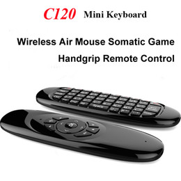 C120 2.4GHz Mini Key Giroscopio senza fili completa tastiera 3 assi sensore Air Fly mouse remoto + Somatic Gioco Impugnatura per Android TV BOX Tablet PC