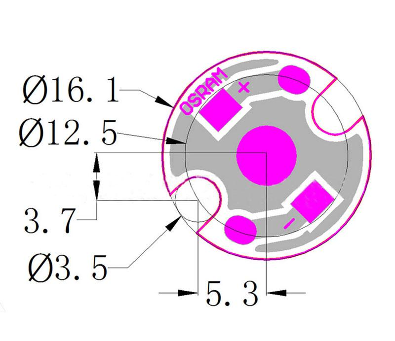 16mm LED Aluminiowa płyta Płytka PCB dla LED 1W / 3W / 5W LED LED 50 sztuk / partia
