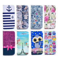 Wholesale Vintage Flower Iphone Cases - For iPhone 6 6S Vintage Flower Printed Flip PU Wallet Leather Case Cover With Card Slots Stand Holder for iphone6 4.7 Inch