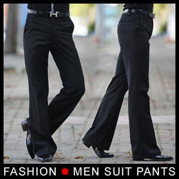 Wholesale Bell Trousers - Men's Flared trousers Formal pants Bell Bottom Pant Dance suit pants Size 28-33 Black Free shipping