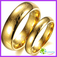 Wholesale Tungsten Heart Wedding Band - Lord of the Rings Lovers' Tungsten Carbide Finger Circle Golden Couple Rings Wedding Band Engagement Party Gift Alliance Bague Sizes 5-15