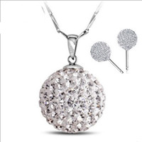 Wholesale Necklace Earrings Silver 925 Shamballa - Luxury Austria Crystal,925 Sterling Silver Shamballa Jewelry Sets,Top Quality 3 Layer Platinum Plated,Top Quality OS06