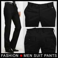 Wholesale Man Western Style Suits - New fashion Men Slim Suit dress Pants Business Pants Formal Western-style Trousers Size 28-33 Black free shipping