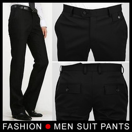 Wholesale Wool Western Style - New fashion Men Slim Suit dress Pants Business Pants Formal Western-style Trousers Size 28-33 Black free shipping
