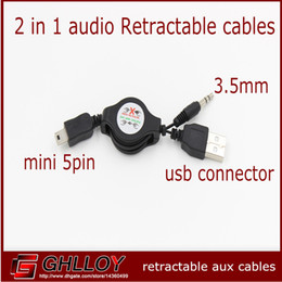 5pin mini usb cables a 3 5mm Male Audio Retractable Cable para Mp3 Mp4 Altavoz Bluetooth 100pcs / lot