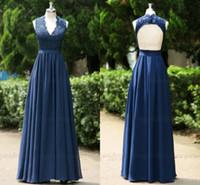 Wholesale Nice White Evening Dresses - Sfani Real Photos New 2015 Prom Dresses Backless Lace Chiffon Navy Blue Evening Dress Plus Size 100% Nice Dress