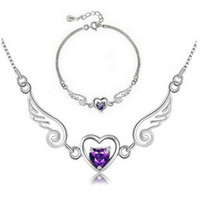Wholesale Luxury Crystal Light Wholesale - Luxury Austria Crystal,Fashion Necklace & Bracelet Set,Genuine 925 Sterling Silver Material & 3 Layer Platinum Plated OS12