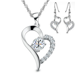 Wholesale Silver Emerald Crystal Necklace - Luxury Austria Crystal,Heart Necklace & Earring Set,Genuine 925 Sterling Silver Material & 3 Layer Platinum Plated OS11
