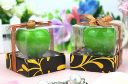 Wholesale Apple Candle Favors - Halloween Green Apple Shape Decorative Candle Smokeless Decorations Party Favors Wedding Supply