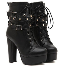 Wholesale Lace Up Punk High Platform - Womens Rivet Studs punk lace up block high heels platform Motorcycle boots shoes