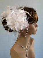 robe de mariée en plumes d'ivoire achat en gros de-Hot vente mariée voile peigne Blusher Birdcage Tulle Ivoire fleur de fleurs plume nuptiale mariage Hots Hat robe