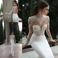 Wholesale Sleeve Lace Column Wedding Dress - 2017 Sheath Berta Bridal Gowns Illusion Long Sleeve Crew Neckline with Appliques Lace Backless Vestidos de Noiva Sexy Wedding Dresses BO3910