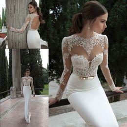 Wholesale Ivory Dress Neckline - 2017 Sheath Berta Bridal Gowns Illusion Long Sleeve Crew Neckline with Appliques Lace Backless Vestidos de Noiva Sexy Wedding Dresses BO3910