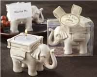 Wholesale Baby Candle Holders - Newest Lucky Elephant Antique-Ivory Candle and Card Holder Wedding Favors and Baby Gifts