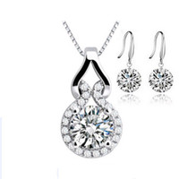 Wholesale Wholesale Jewelry Necklace Sets - Crystal Jewelry Sets,Luxury Naked Crystal Earring & Necklace Sets,925 Sterling Silver with Platinum Plated OS25