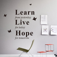 Wholesale modern bedroom wall decor - Vinyl Wall Stickers Mural Home Art Decal Learn from yesterday, Live for today, Hope for tomorrow Room Decor