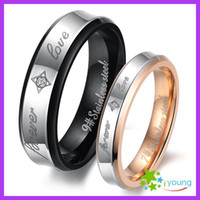Wholesale 18k Gold Alliance - Stainless Steel Lovers' Finger Circle Inlaid Crystal CZ Couple Rings Plating 18k Rose Gold Wedding Band Engagement Gift Alliance Sizes 5-12