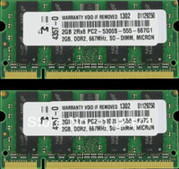 Notebook RAM 2GB DDR2 667 RAM 4GB PC2-5300s Memória do portátil para MacBook A1181 MB062 MB063 MB402 MB403 MD404 MB133 MB134 ThinkPad T60 T61 X61