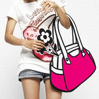 Wholesale Women Fashion Drawings - Wholesale-New Casual Fashion 2D Drawing 3D Jump Handbag Shoulder Canvas From Cartoon Paper Messenger Bag#44552