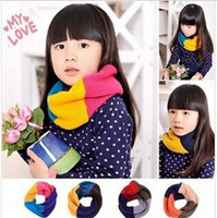 Wholesale Red Loop Scarf - baby boys and girls Candy Winter Smile Knitting Woolen Baby Kids Infinity Scarf Circle Neck Collar Loop Shawl