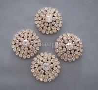 Wholesale 26mm Metal Rhinestone Buttons - 20pcs Gold Tone FlatBack Rhinestone Buttons Bridal Bouquet Flower Accessory Hair Flower Accessory 26mm