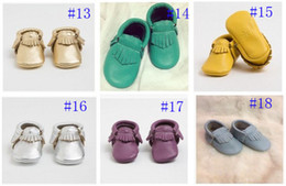 Baby Moccasin Booties Canada - Hot!baby tassel moccasins soft sole moccs booties Various of Genuine leather Toddler infant solid colour fringe shoes free shipping003