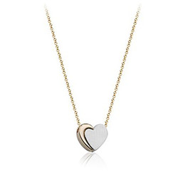 1pcs Italina Red Apple K Gold Plated Alloy Two Color Heart Shaped Necklace Fashion Gift For Wedding Anniversary Sister Birthday Lover Valent