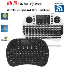 Wholesale Multi Media Keyboards - Russian Hebrews Keyboard Rii Mini i8 Fly Air Mouse Multi-Media Remote Control with Touchpad Handheld for MXQ Pro TV BOX PC Tablet Mini PC
