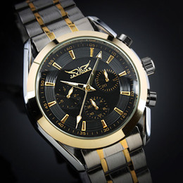 Wholesale New Jaragar Watches - Jaragar Fashion brand Men's Silver Dial Golden Case Elegant 6 Hands Multifunction Automatic Mechanical Watch Free shipping