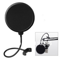 Wholesale 200pcs Studio Microphone Mic Pop Screen Wind Windscreen Filter Mask Shield Flexible Filters Black Color FREE FEDEX DHL Shipping