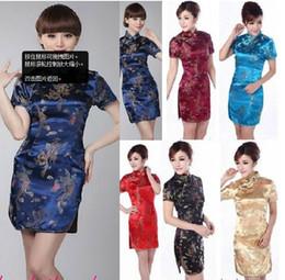 Wholesale Mini Cheongsam Chinese Dress - Hot Sale Chinese Dresses Improved Short Dresse tapestry satin Women Cheongsam Low Slit 6 Colors 9 Sizes