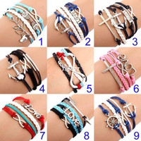 Wholesale Music Peace - Leather Bracelet Anchor Infinity antique Cross Love Peace Heart Music mix wish Charm Wristbands Gift SET