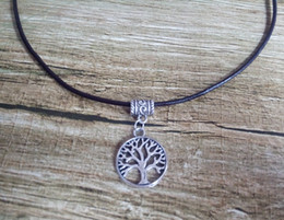 Wholesale Cheap Life Charms - Cheap Wholesale Tree of Life Charms Pendant Necklace Of 2.5mm Brown Black Genuine Leather Cords 10pcs lot