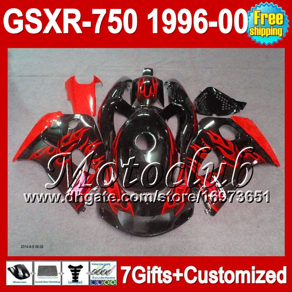7gifts+Fairing For SUZUKI Red flames GSXR 750 MCR335 GSXR750 GSXR-750 1996 1997 1998 1999 2000 red flames black GSX-R750 SRAD 96 97 98 99 00