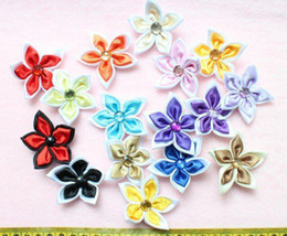 Wholesale Rosette Flowers Mix - set of 50 pcs- Satin handmade Fabric Flowers Daisy Rosettes Mixed Colors with crystal 40-45mm
