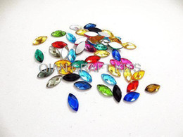 Wholesale Assorted Flat Back Resins - Set of 200pcs premium assorted Flat Back Cat eye Navette Marquise shape Jewels Resin Rhinestones 7*15mm mixed colors