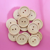 Wholesale Wood Buttons 25mm - Set of 150pcs light brown natural paint button pack 25mm Round Wood, Wooden Buttons 2 holes for DIY MK0108