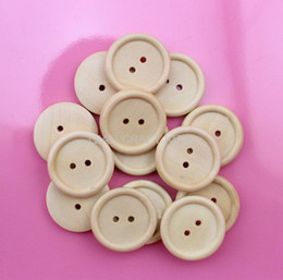 Wholesale Natural Wooden Buttons - Set of 150pcs light brown natural paint button pack 25mm Round Wood, Wooden Buttons 2 holes for DIY MK0108