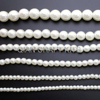 Wholesale Ivory Faux Pearl Necklace - Set of 200pcs mixed Vintage Plastic Shiny Ivory or White Pearl Beads, (4mm-16mm) Faux Pearls For Flapper Style Necklace