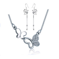 Wholesale Butterfly Layer Earrings - Butterfly Jewelry Set,925 Sterling Silver with 3 Layer Platinum Plated,Austria Crystal,Necklace Earring Set Wholesale OS34