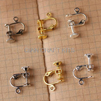 Wholesale Gold Spacers Mixed - set of 50pcs Adjustable brass Screwback Clip-On Earrings silver and gold tone Clip On Screw Back Earring Findings mixed colors