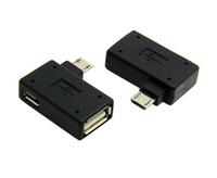 plug otg venda por atacado-Ângulo Direito de 90 Graus 5Pin Micro B Macho para Uma Fêmea + Micro USB Feminino Plug Power Supply OTG Host Conversor Adaptador de Dados Android