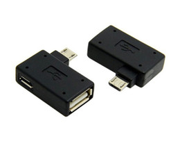 China Right Angle 90 Degree 5Pin Micro B Male to A Female + Micro USB Female Power Supply Plug Data OTG Host Converter Adapter Android suppliers